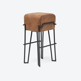 BOKK Bar Stool in Brown Leather