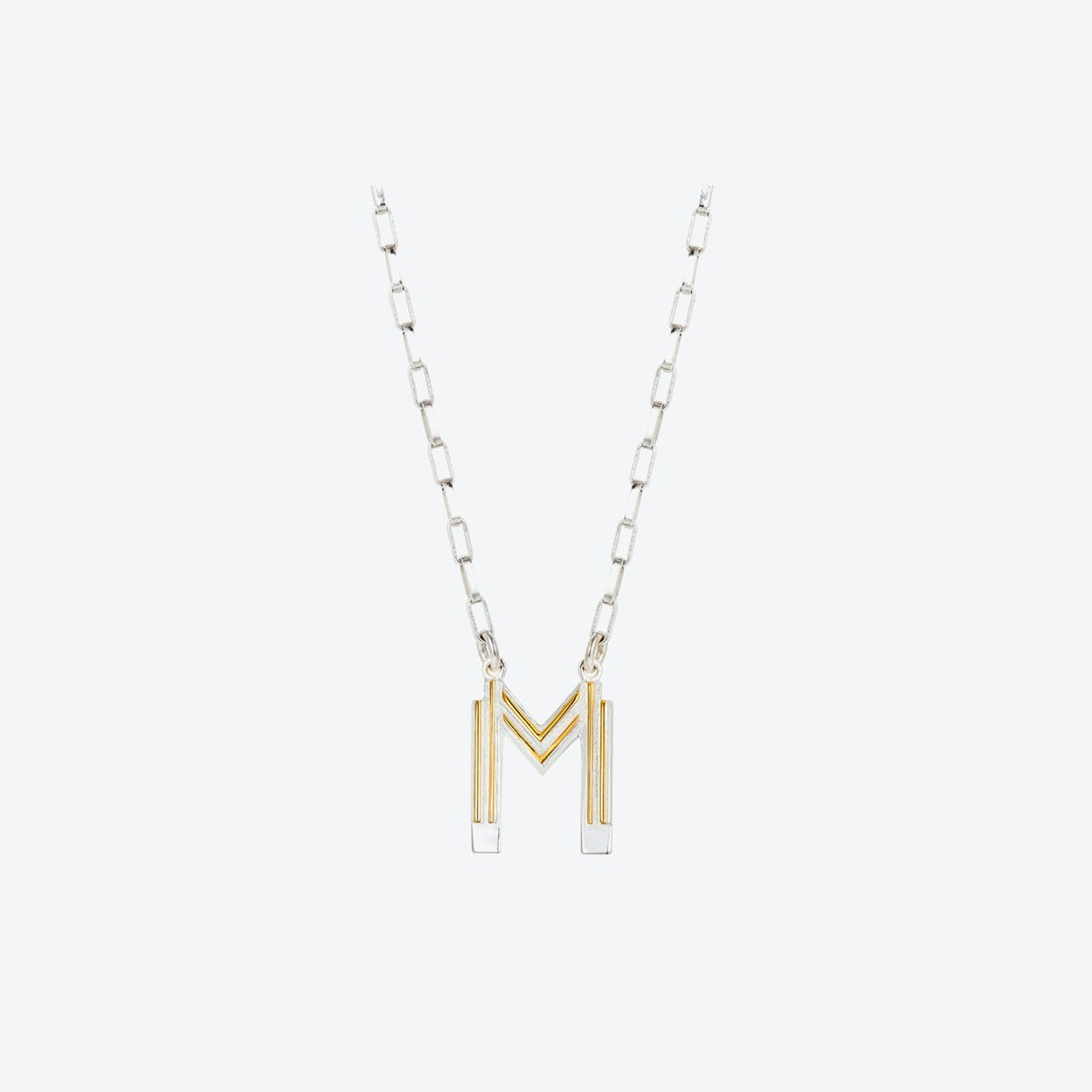 Saxony M Initial Necklace