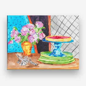 Flowers And Pie Canvas Print