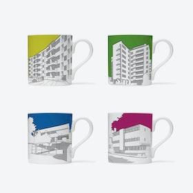 1930s Modernist London Homes Mugs - set of 4