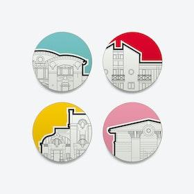 PoMo Coasters - set of 4