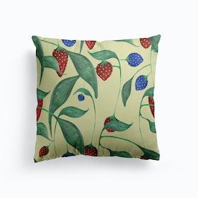 Elephant In A Strawberry Field Cushion