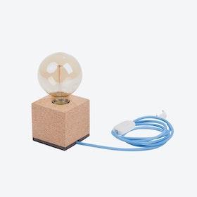 MOCO Table Lamp in Light Cork w/ Light Blue Cord