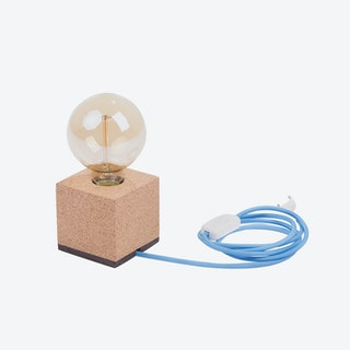 MOCO Table Lamp in Light Cork w/ Light Blue Cord