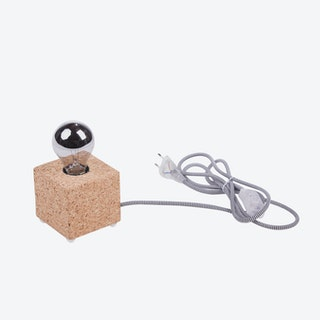 MOCO Table Lamp in Light Cork w/ Black & White Cord