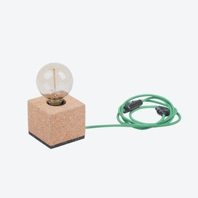 MOCO Table Lamp in Light Cork w/ Light Green Cord