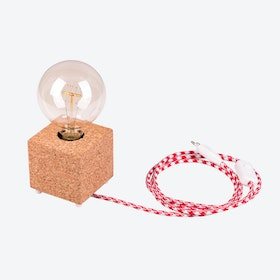 MOCO Table Lamp in Light Cork w/ Red & White Cord