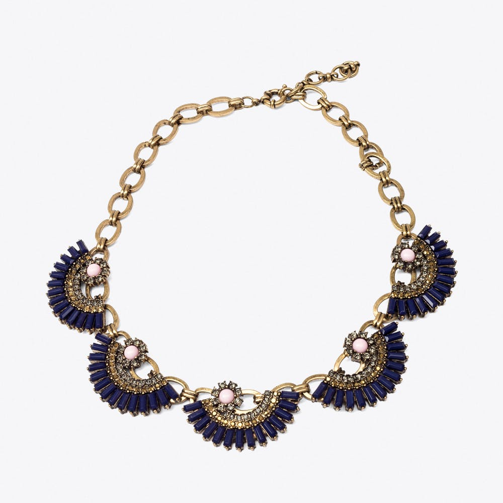 Navy Blue Fan Statement Necklace