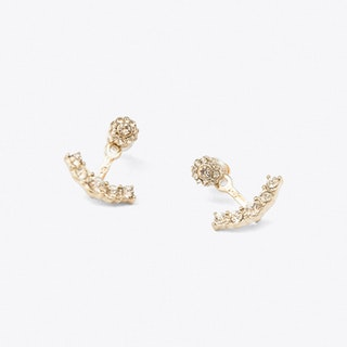 Gold And Crystal Floret Ear Jacket