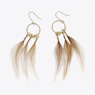 Circle Feather Drop Delicate Earrings