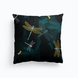 Midnight Dragonflies Canvas Cushion