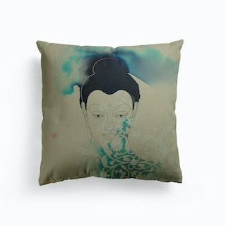 Siddhartha Gautama Buddha Blue Canvas Cushion