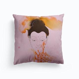 Siddhartha Gautama Buddha Pink Canvas Cushion