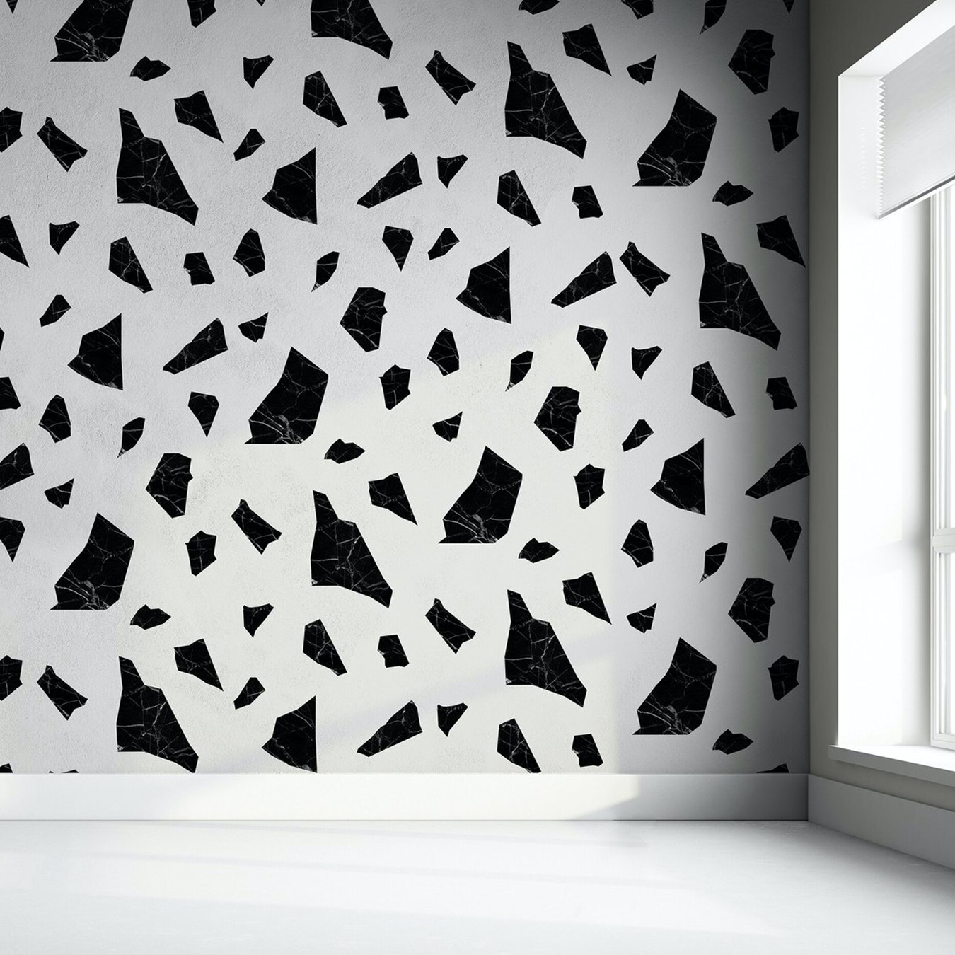 Marble Fragment Wallpaper In Black White