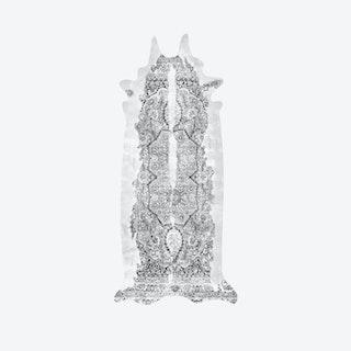 Super Long Persian Faux Cowhide Rug in Grey