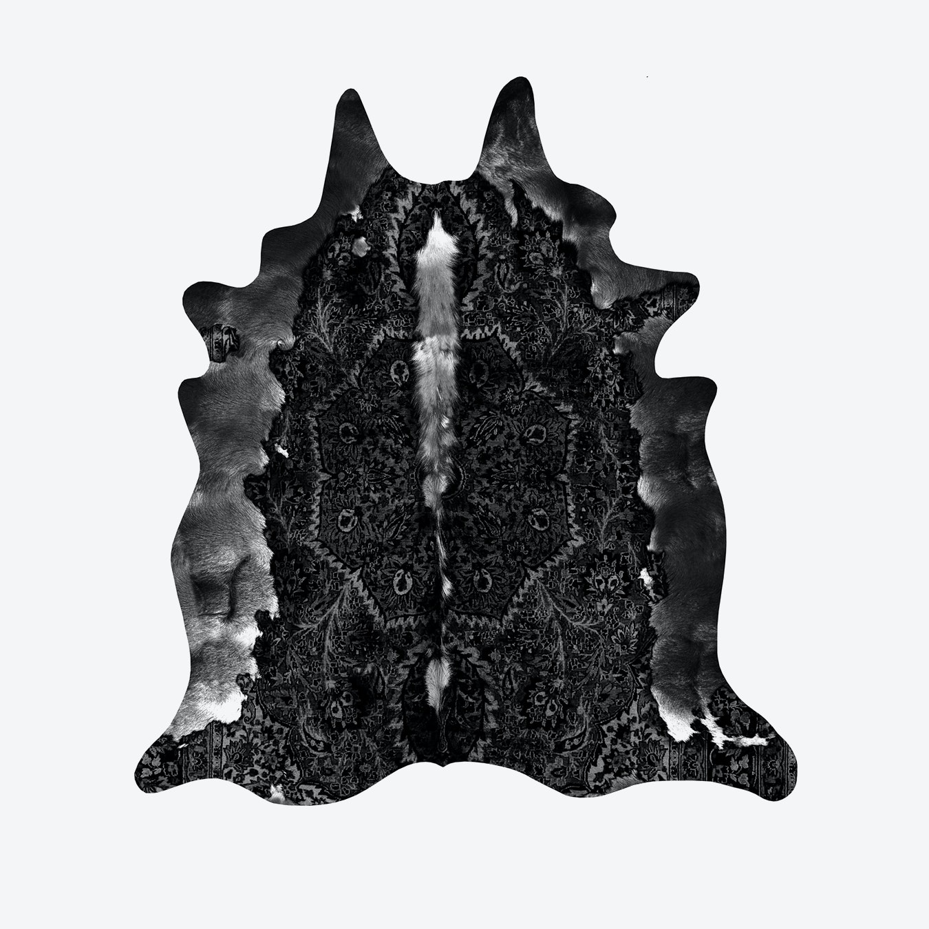 Persian Faux Cowhide Rug In Black