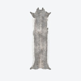 Super Long Stretched Faux Cowhide Rug in Bleached