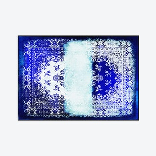 Kashan Remix Rug in Blue and White