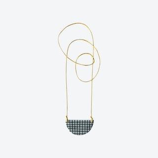 Staple Semi-Circle Necklace in Grid w/ Mustard Cord