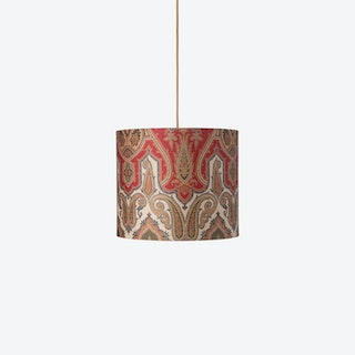 Hanging Lampshade in Green/Gold Brocade