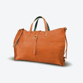 Tubani Weekender Bag in Tan and Petrol