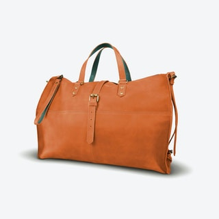 Tubani Weekender Bag in Tan and Petrol
