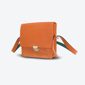Vake Shoulder Bag in Tan and Petrol