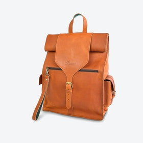 Fabrika Backpack in Tan and Petrol