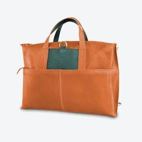 Okrokana Laptop Bag in Tan and Petrol