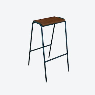 Pill Stool in Teal w/ Iroko Wood Seat