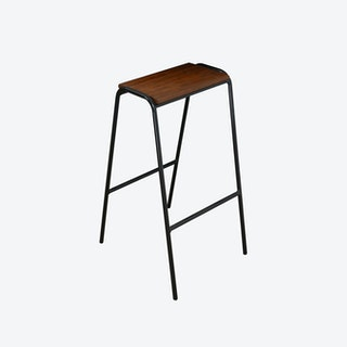 Pill Stool in Black w/ Iroko Wood Seat
