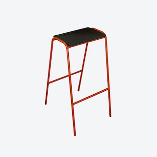 Pill Stool in Signal Orange w/ Black Ash Seat
