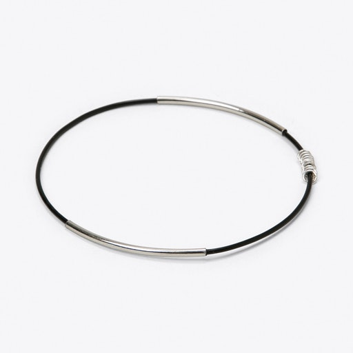 Simple Bangle in Black with Silver
