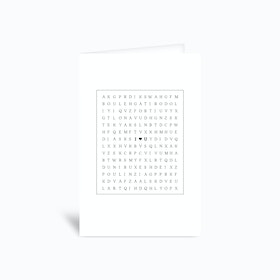I Heart You Word Search Greetings Card