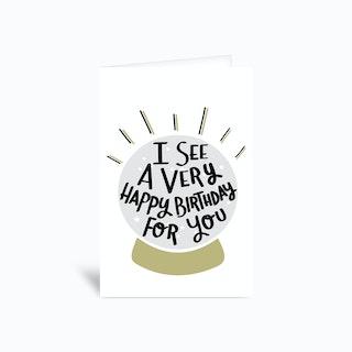 Happy Birthday Crystal Ball Greetings Card