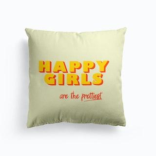 Happy Girls Typography Cushion