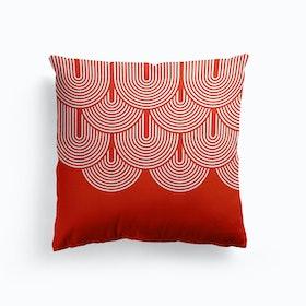Red Geometry Cushion