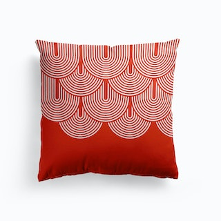 Red Geometry Cushion