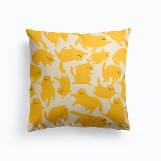Cats Yellow Pattern Cushion