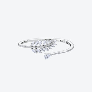 Diamond White Falling Leaves Silver Bangle