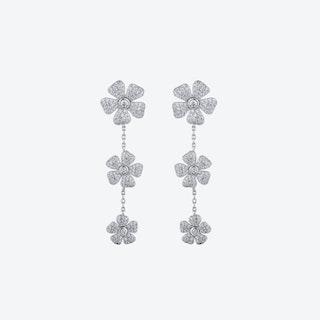 Lucky Flower 925 Sterling Silver Drop Earrings - 3 Flowers