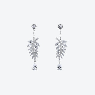 Diamond White Falling Leaves Silver Drop Earrings