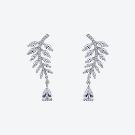 Diamond White Falling Leaves Silver Earrings