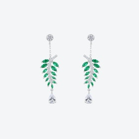 Emerald Green Falling Leaves Silver Drop Earrings