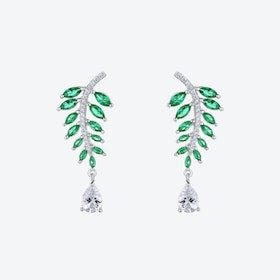 Emerald Green Falling Leaves Silver Earrings