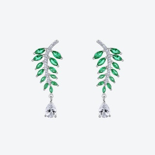 Emerald Green Falling Leaves Silver Earrings