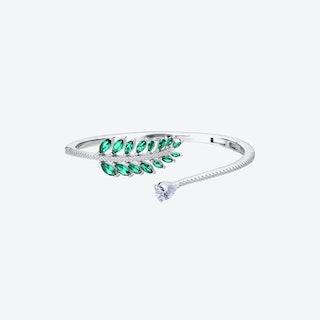 Emerald Green Falling Leaves Silver Bangle