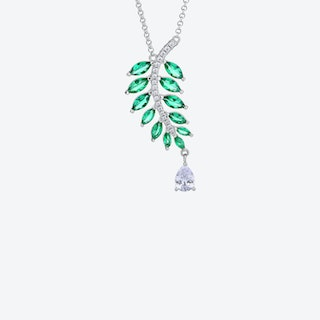Emerald Green Falling Leaves Silver Necklace