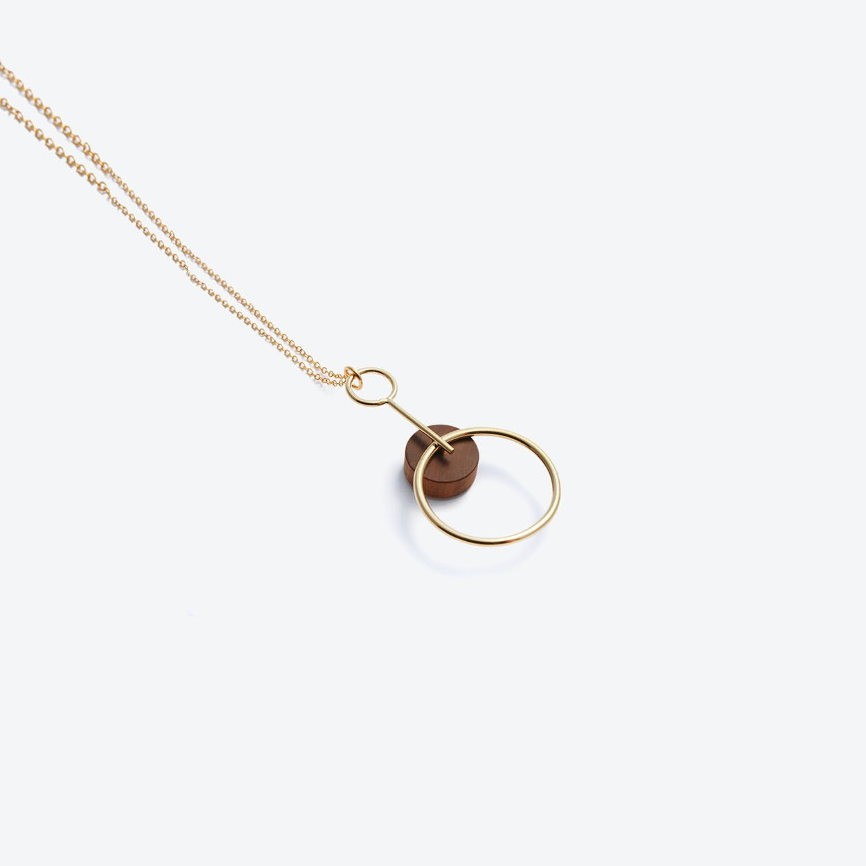 Alicia Pendant Necklace Gold & Wood