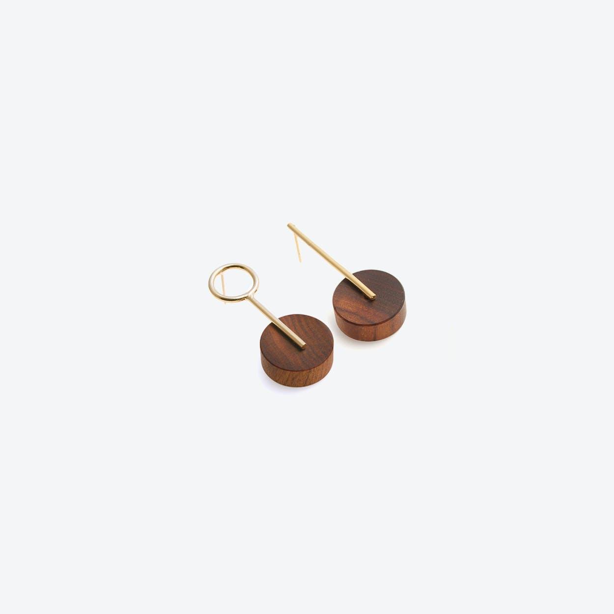 Kassandra Earrings Gold & Wood